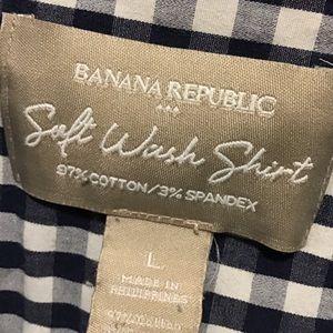 Banana Republic Tops - BANANA REPUBLIC Blue Gingham Check Blouse SZ LRG
